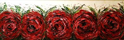 A Row of Red Roses by Alison Cowan, Painting, Acrylic on canvas