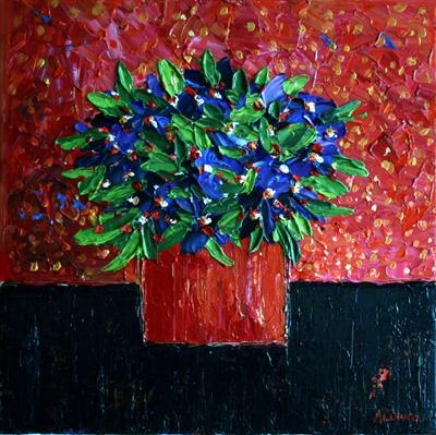 African Violets by Alison Cowan, Painting, Acrylic on canvas