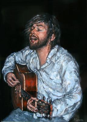 Alex - Lost in his Music by Alison Cowan, Painting, Acrylic on canvas