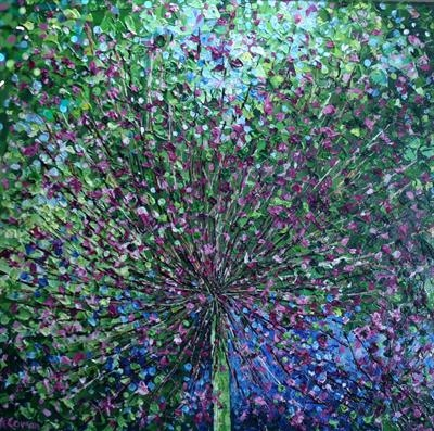 Allium Burst by Alison Cowan, Painting, Acrylic on canvas