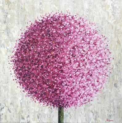 Allium Haze by Alison Cowan, Painting, Acrylic on canvas