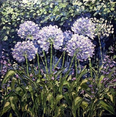 Allium Huddle by Alison Cowan, Painting, Acrylic on canvas