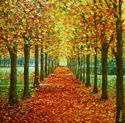 Amber Path by Alison Cowan, Painting, Acrylic on canvas