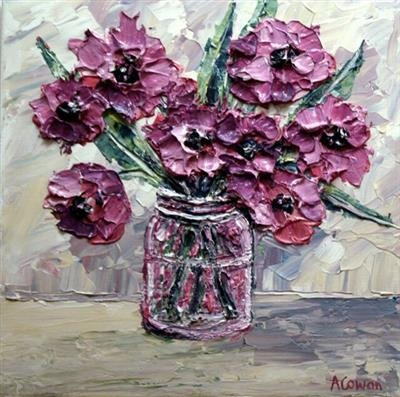 Anemones in Glass Jar by Alison Cowan, Painting, Acrylic on canvas