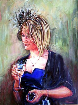 Angie - A Day at the Races by Alison Cowan, Painting, Acrylic on canvas