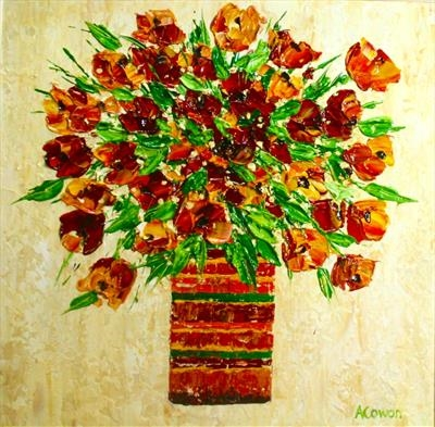 Autumn Blooms by Alison Cowan, Painting, Acrylic on canvas