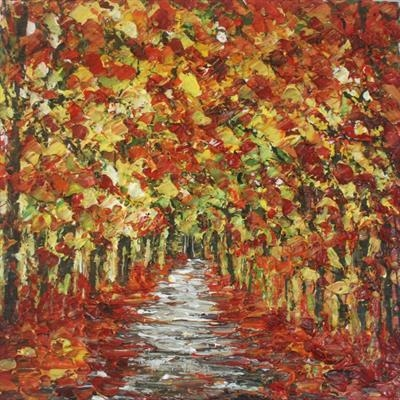 Autumn Tunnel by Alison Cowan, Painting, Acrylic on canvas