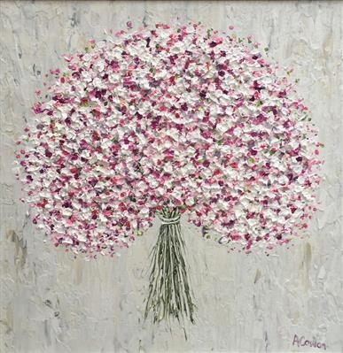Baby's Breath with Pink by Alison Cowan, Painting, Acrylic on canvas