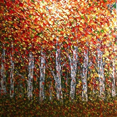 Birch Huddle by Alison Cowan, Painting, Acrylic on canvas