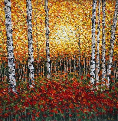 Birch Trees with Golden Haze by Alison Cowan, Painting, Acrylic on canvas