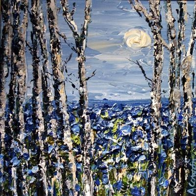 Birch Trees with Moon Beyond by Alison Cowan, Painting, Acrylic on canvas