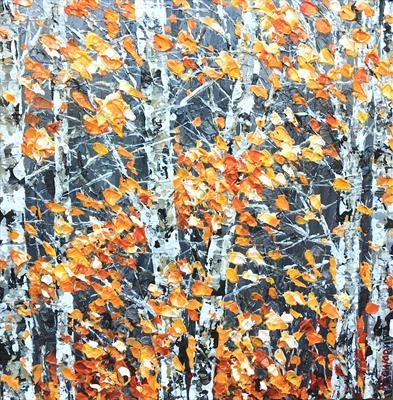 Birch with Amber Leaves by Alison Cowan, Painting, Acrylic on canvas