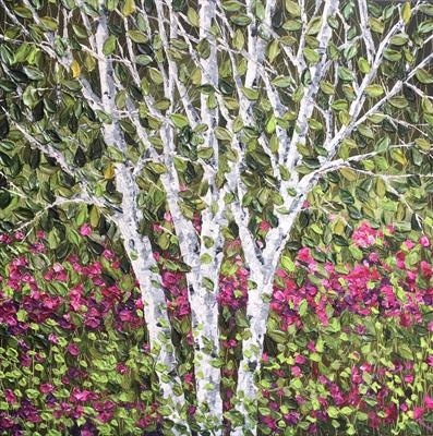 Birch with Raspberry Foliage by Alison Cowan, Painting, Acrylic on canvas