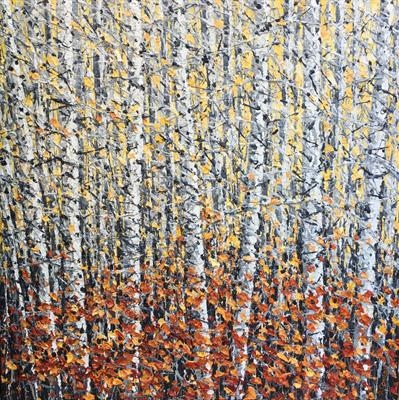 Birch with Russet Carpet by Alison Cowan, Painting, Acrylic on canvas