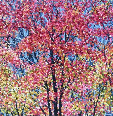 Blazing Tree on Blue by Alison Cowan, Painting, Acrylic on canvas