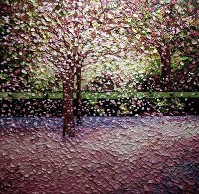Blossom Shower by Alison Cowan, Painting, Acrylic on canvas