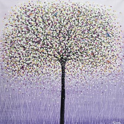Blossom Tree and Songbirds by Alison Cowan, Painting, Acrylic on canvas