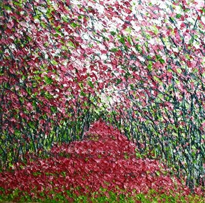 Blossom Tunnel by Alison Cowan, Painting, Acrylic on canvas
