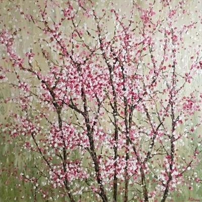 Blossom on Green by Alison Cowan, Painting, Acrylic on canvas
