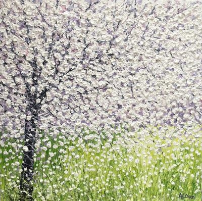 Blossom on Lime 50 x 50 cm by Alison Cowan, Painting, Acrylic on canvas