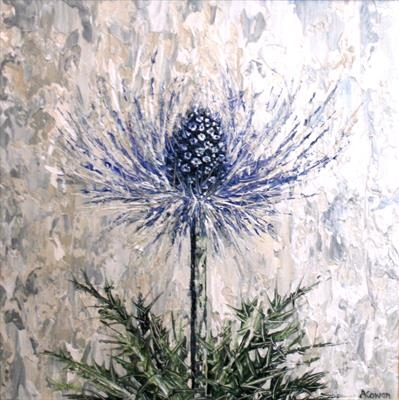 Blue Haze Sea Holly by Alison Cowan, Painting, Acrylic on canvas