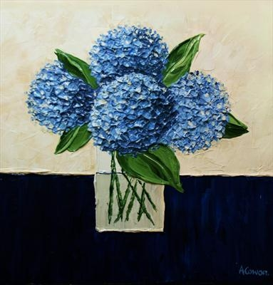 Blue Hydrangeas with Spiky Stems by Alison Cowan, Painting, Acrylic on canvas