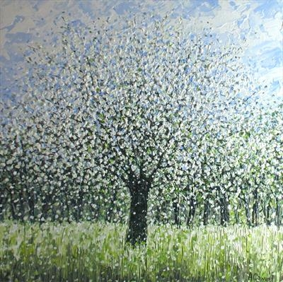 Blue Sky and Blossom by Alison Cowan, Painting, Acrylic on canvas
