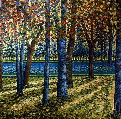 Blue Trees by Alison Cowan, Painting, Acrylic on canvas