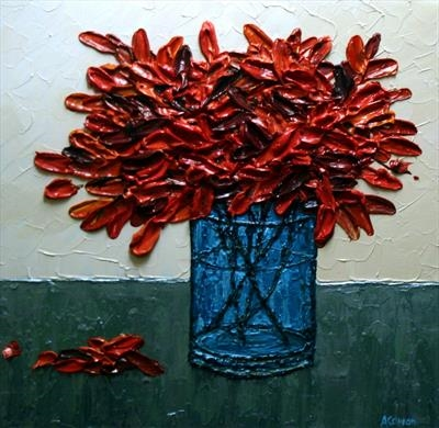 Blue Vase with Maple Sprigs by Alison Cowan, Painting, Acrylic on canvas