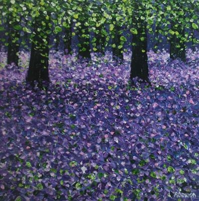 Bluebell Carpet by Alison Cowan, Painting, Acrylic on canvas
