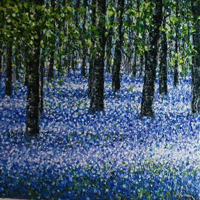 Bluebell Carpet 2. by Alison Cowan, Painting, Acrylic on canvas