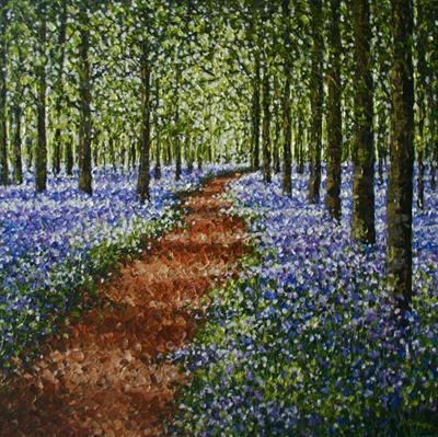 Bluebell Forest by Alison Cowan, Painting, Acrylic on canvas