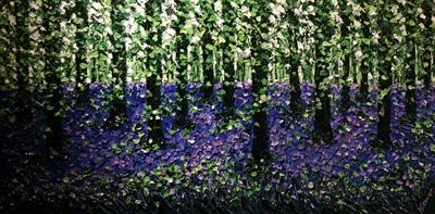 Bluebell Landscape by Alison Cowan, Painting, Acrylic on canvas
