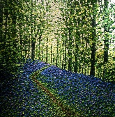 Bluebell Path by Alison Cowan, Painting, Acrylic on canvas