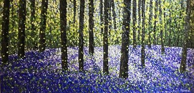 Bluebell Reflections by Alison Cowan, Painting, Acrylic on canvas