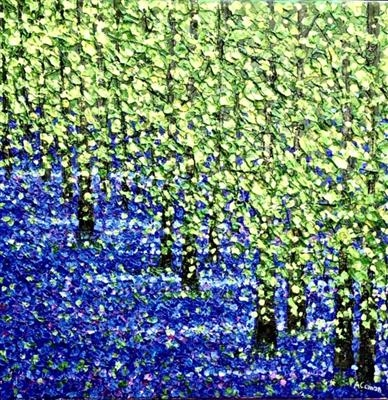 Bluebell Shimmer by Alison Cowan, Painting, Acrylic on canvas