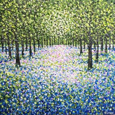 Bluebell Sparkle by Alison Cowan, Painting, Acrylic on canvas
