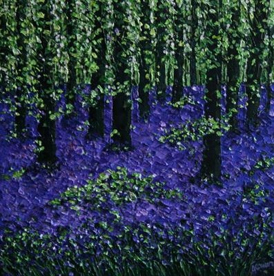 Bluebell Wood by Alison Cowan, Painting, Acrylic on canvas