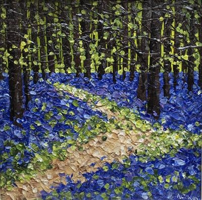Bluebell Zig Zag by Alison Cowan, Painting, Acrylic on canvas