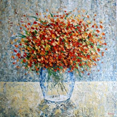Bouquet Burst by Alison Cowan, Painting, Acrylic on canvas