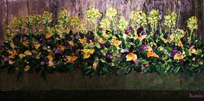 Box with Cowslips and Viola by Alison Cowan, Painting, Acrylic on canvas