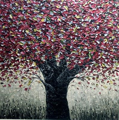 Burgundy Tree by Alison Cowan, Painting, Acrylic on canvas