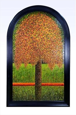 Burnished Arched Dome by Alison Cowan, Painting, Acrylic on board