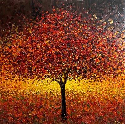 Burnished Tree by Alison Cowan, Painting, Acrylic on canvas