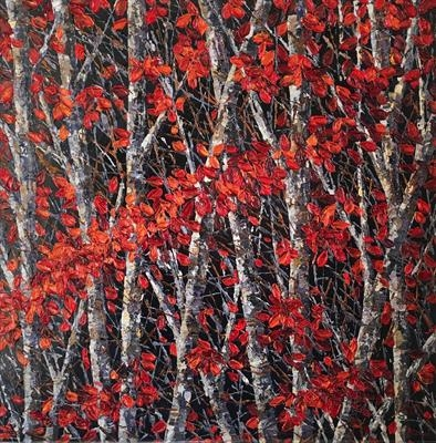 Cascade on Birch by Alison Cowan, Painting, Acrylic on canvas