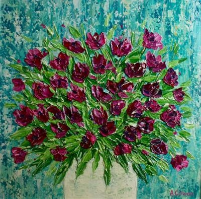 Cerise Blooms on Teal by Alison Cowan, Painting, Acrylic on canvas