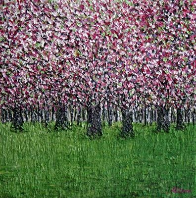 Cherry Blossom Haze by Alison Cowan, Painting, Acrylic on canvas