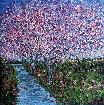 Cherry Blossom Trail by Alison Cowan, Painting, Acrylic on canvas