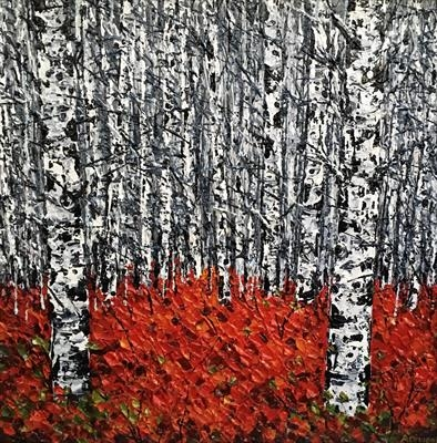 Claret Carpet with Birch by Alison Cowan, Painting, Acrylic on canvas