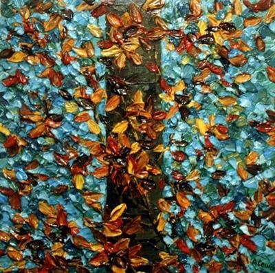 Copper Leaves on Teal by Alison Cowan, Painting, Acrylic on canvas